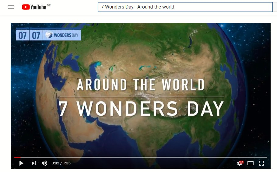 Central of this year's commemoration is the 7 Wonders Day Around The World video, which takes viewers on a World-Wonders tour, from Jeu Island in South Korea to Chichén Itzá in Mexico.